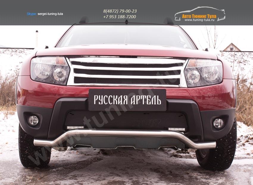 Зимняя заглушка решетки переднего бампера («дхо»+обвес) Renault Duster 2010+/арт.743-35