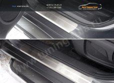 Nissan X-Trail 2015-Накладки на пороги (лист шлифованный) 1мм /арт.808-16