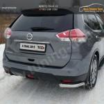 Nissan X-Trail 2015-Защита задняя (уголки) 60,3 мм