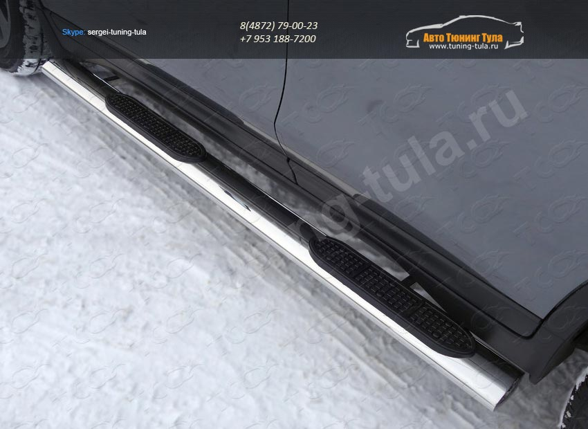 Nissan X-Trail 2015-Пороги овальные с накладкой 120х60 мм /арт.808-11