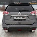 Nissan X-Trail 2015-Защита задняя (уголки овальные) 75х42 мм
