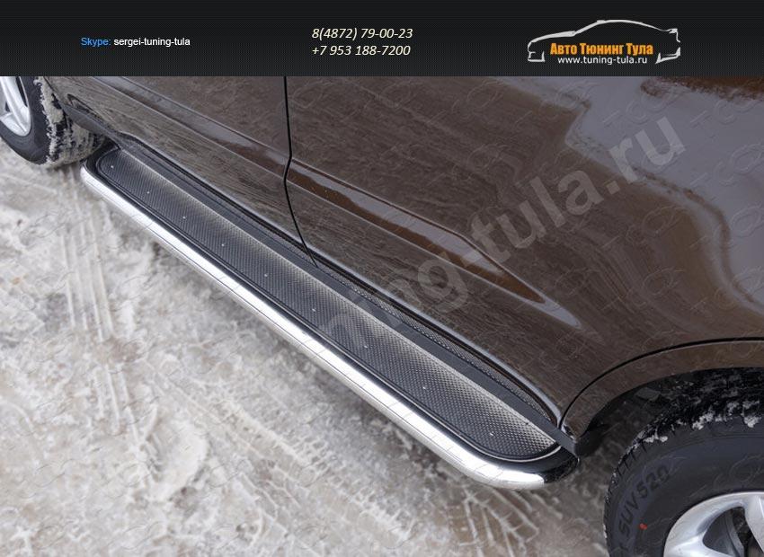Пороги с площадкой (нерж. лист) 60,3 или 42,4 мм Geely Emgrand X7 2015+/арт.810-9