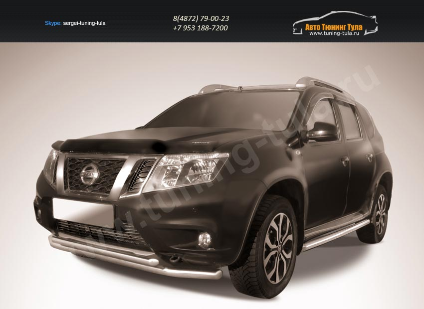 Защита переднего d57+d42 бампера двойная Nissan Terrano 2014+/арт.144-45