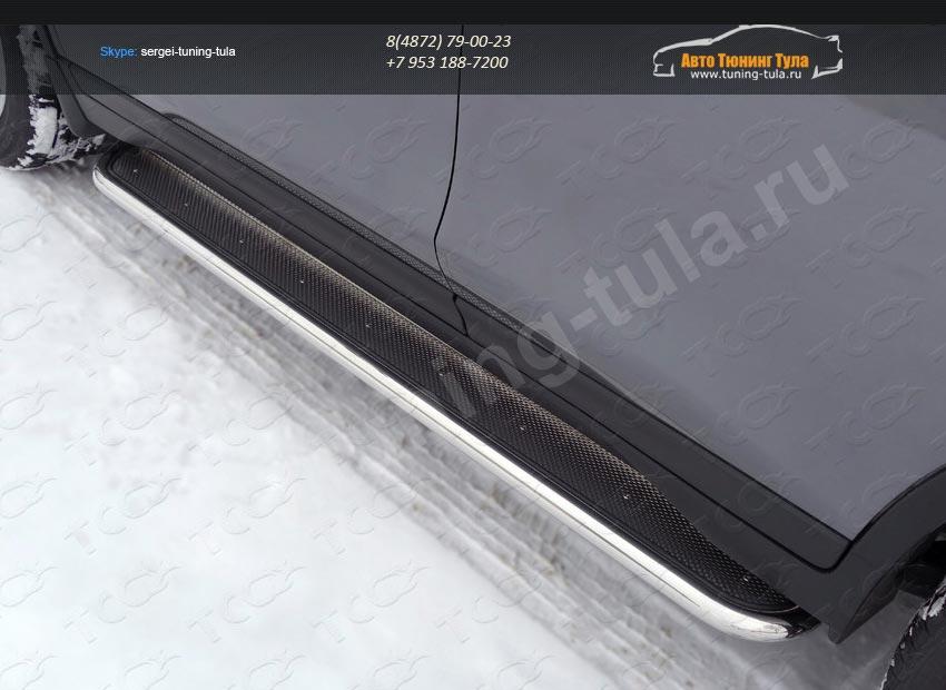 Nissan X-Trail 2015-Пороги с площадкой (нерж. лист) 42,4 мм /арт.808-9