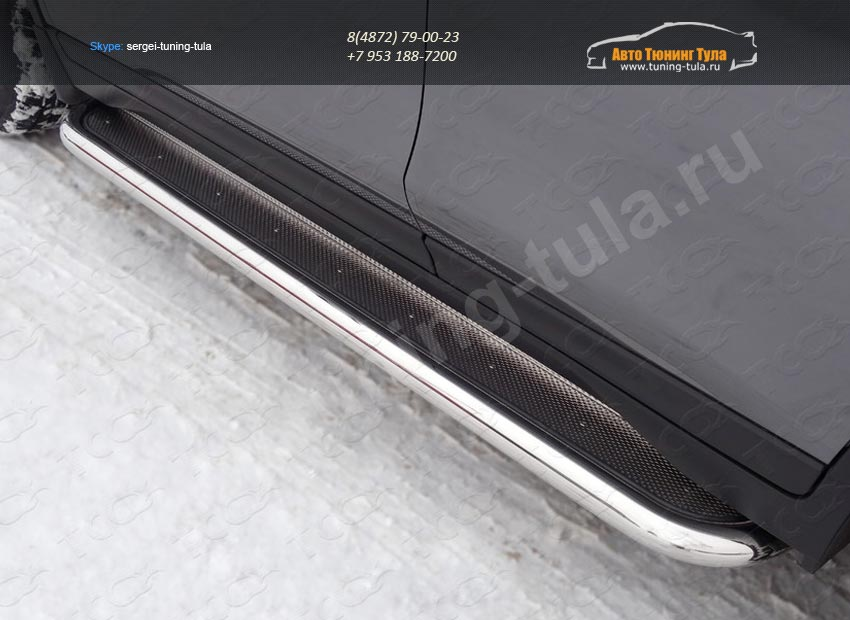 Nissan X-Trail 2015-Пороги с площадкой (нерж. лист) 60,3 мм /арт.808-7