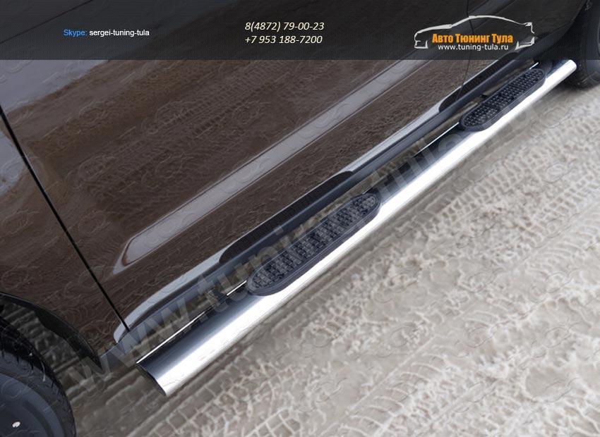 Пороги овальные с накладкой 120х60 мм Geely Emgrand X7 2015+/арт.810-7