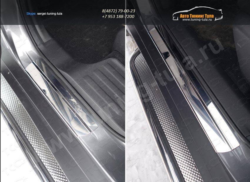Nissan X-Trail 2015-Накладки на пороги (лист зеркальный) 1мм /арт.808-15