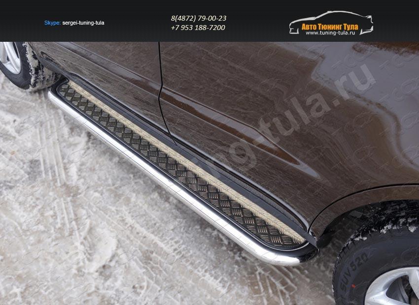 Пороги с площадкой 60,3 или 42.4 мм Geely Emgrand X7 2015+/арт.810-10