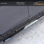 Nissan X-Trail 2015-Пороги овальные с накладкой 75х42 мм