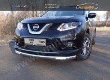 Nissan X-Trail 2015 Защита передняя нижняя длинная (с ходовыми огнями) 60,3 мм или овальная 75х42 /арт.808-1-1