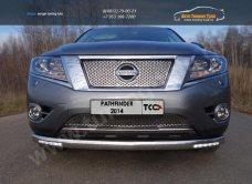 Защита передняя нижняя (с ходовыми огнями) 76,1 мм Nissan Pathfinder 2014+/арт.651-19