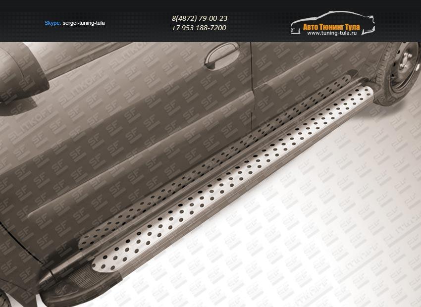 """Пороги алюминиевые """"Standart Silver"""" 2100 серебристые Lada Largus 2012+/арт.267-9"""