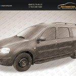 """Пороги алюминиевые """"Optima Black"""" 2100 черные Lada Largus 2012+"""