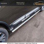 Пороги овальные с проступью 75х42 мм Mitsubishi Outlander 2015