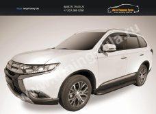 """Пороги алюминиевые """"Optima Black"""" 1700 черные Mitsubishi Outlander 2015/арт.812-13"""