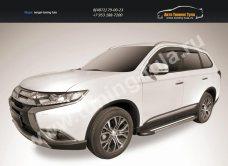 """Пороги алюминиевые """"Luxe Black""""  1700 черные Mitsubishi Outlander 2015/арт.812-15"""