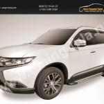 """Пороги алюминиевые """"Luxe Black""""  1700 черные Mitsubishi Outlander 2015"""