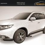 """Пороги алюминиевые """"Optima Silver"""" 1700 серебристые Mitsubishi Outlander 2015"""