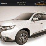 """Пороги алюминиевые """"Optima Black"""" 1700 черные Mitsubishi Outlander 2015"""