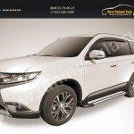 "Пороги алюминиевые ""Luxe Silver"" 1700 серебристые Mitsubishi Outlander 2015"