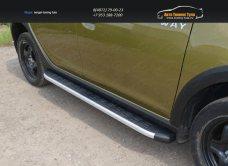 Пороги алюминиевые с пластиковой накладкой 1720 мм Renault Sandero Stepway 2014+/арт.817-5