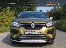 Защита передняя нижняя 42,4 мм+решетка и пороги Renault Sandero Stepway 2014+/арт.817
