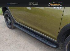 Пороги алюминиевые с пластиковой накладкой (карбон черные) 1720 мм Renault Sandero Stepway 2014+/арт.817-8