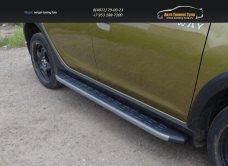 Пороги алюминиевые с пластиковой накладкой (карбон серые) 1720 мм Renault Sandero Stepway 2014+/арт.817-6