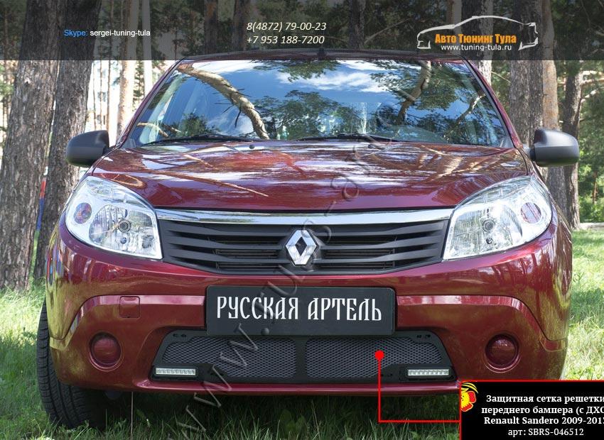 Защитная сетка переднего бампера (с ДХО) Renault Sandero 2009-2013/арт.295-46