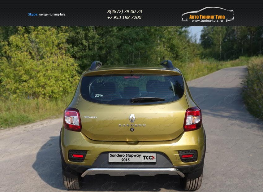 Защита задняя 42,4 мм Renault Sandero Stepway 2014+/арт.817-9