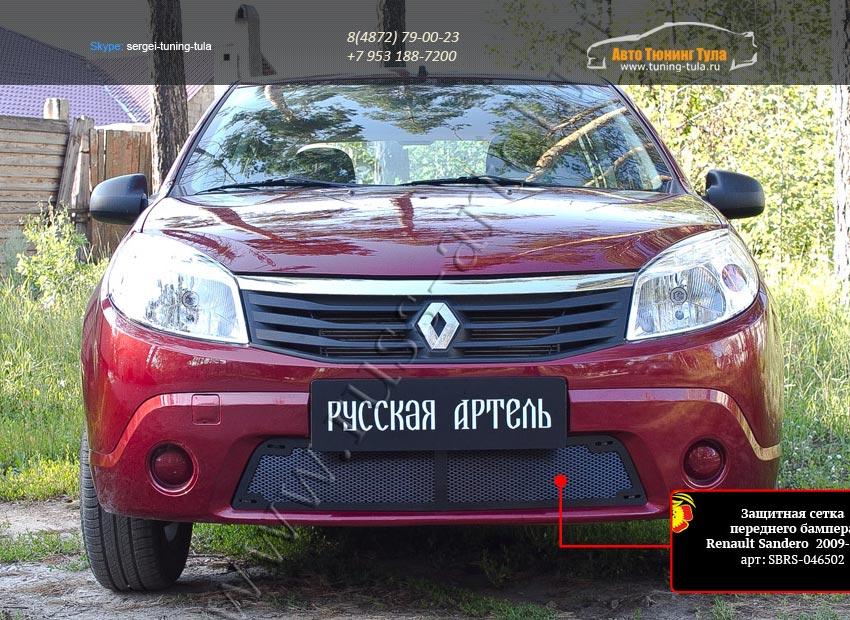 Защитная сетка переднего бампера Renault Sandero 2009-2013/арт.295-45