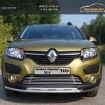 Защита передняя нижняя 42,4 мм+решетка и пороги Renault Sandero Stepway 2014+