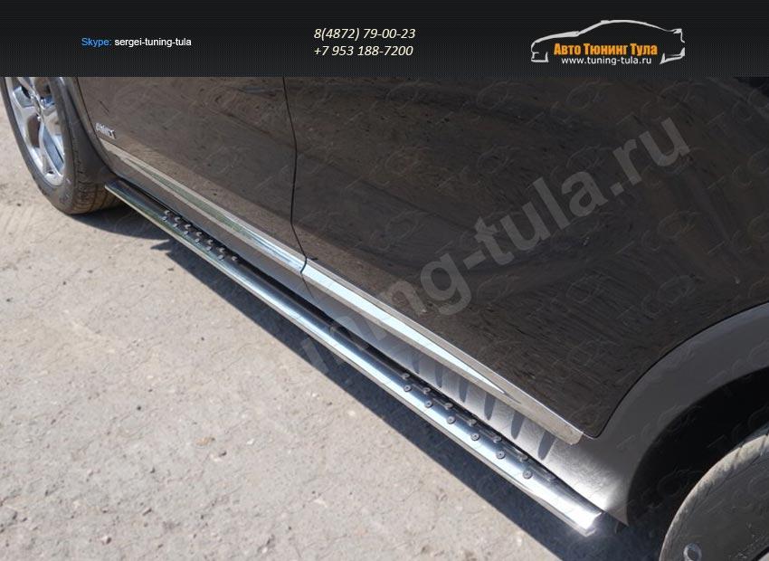 Пороги овальные с проступью 75х42 мм SORENTO 2015+/арт.814-40