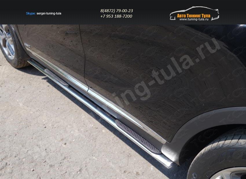 Пороги овальные с накладкой 75х42 мм Kia SORENTO 2015+/арт.814-39