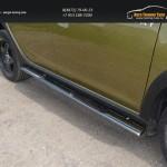 Пороги овальные с накладкой 75х42 мм Renault Sandero Stepway 2014+