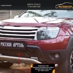 Защитная сетка переднего бампера (дхо+обвес) Renault Duster 2010-2014