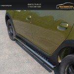 Пороги овальные с проступью 75х42 мм Renault Sandero Stepway 2014+
