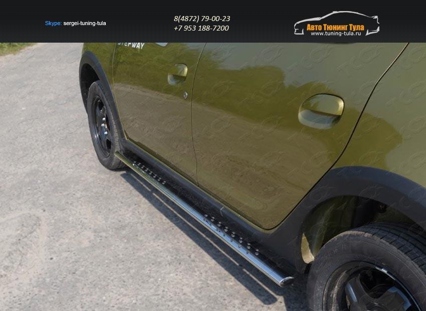 Пороги овальные с проступью 75х42 мм Renault Sandero Stepway 2014+/арт.817-3