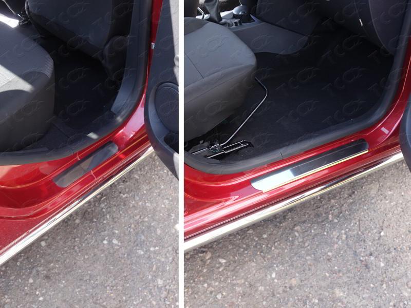 Накладки на пороги (лист зеркальный) Renault Logan 2015+/арт.816-4