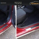 Накладки на пороги (лист шлифованный) Renault Logan 2015+