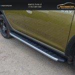 Пороги алюминиевые с пластиковой накладкой (карбон серебро) 1720 мм Renault Sandero Stepway 2014+