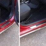 Накладки на пороги (лист зеркальный) Renault Logan 2015+
