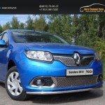 Защита передняя нижняя 42,4 мм +решетка нижняя+верхняя Renault Sandero 2014+