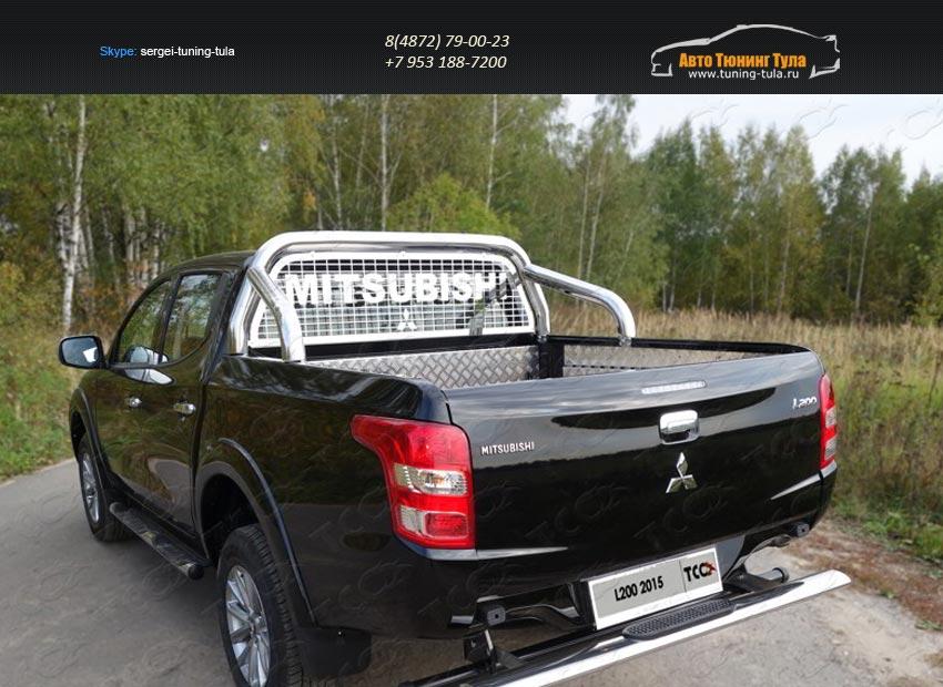 Защита кузова и заднего стекла 76,1 мм со светодиодной фарой Mitsubishi L200 2015+/арт.819-19