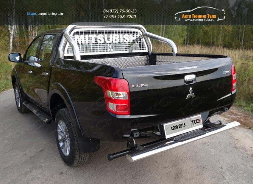 Защита задняя центральная 120х60 мм с накладкой Mitsubishi L200 2015+/арт.819-14