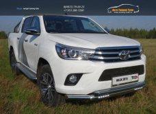 Защита передняя нижняя (двойная с ДХО) 76,1/60,3 мм+Решетка радиатора Toyota Hilux 2015 (лист) /арт.820