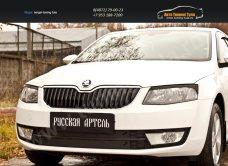 Накладки на передние фары (реснички) Skoda Octavia A7 2014+/арт.813-4