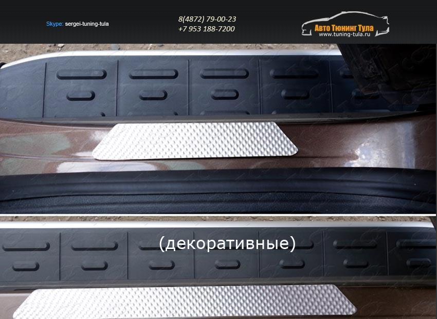Накладки на пороги (шлифованные или зеркальные или декоративные ) Volkswagen Touareg 2014+/арт.820-28
