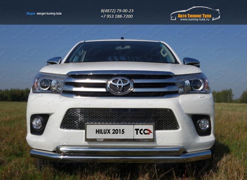 Защита передняя нижняя (двойная) 76,1/60,3 мм+Рамка номерного знака (комплект) Toyota Hilux 2015 /арт.820-1