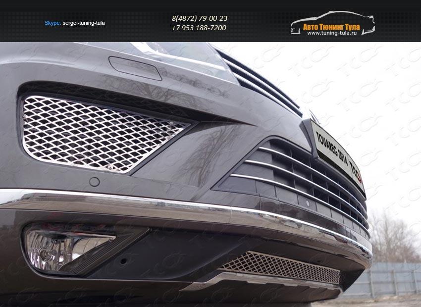 Решетка радиатора центральная (лист)+Решетки радиатора боковые (лист) Volkswagen Touareg 2014+/арт.820-27